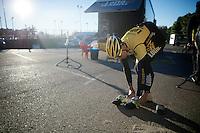 Robert Wagner (DEU/LottoJumbo) getting ready for a 7hr training ride<br /> <br /> Team Lotto Jumbo winter training camp<br /> <br /> January 2015, Mojácar, Spain