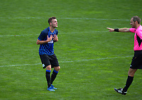 Liam Wood pleads innocence during the Central League football match between Miramar Rangers and Lower Hutt AFC at David Farrington Park in Wellington, New Zealand on Saturday, 10 April 2021. Photo: Dave Lintott / lintottphoto.co.nz
