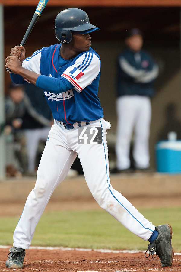 17 August 2010: Jean Antonio Samer of Team France is seen at bat during the Czech Republic 4-3 win over France, at the 2010 European Championship, under 21, in Brno, Czech Republic.