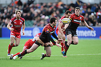 20130303 Copyright onEdition 2013©.Free for editorial use image, please credit: onEdition..Joel Tomkins of Saracens (right) receives a pass from team mate Duncan Taylor during the Premiership Rugby match between Saracens and London Welsh at Allianz Park on Sunday 3rd March 2013 (Photo by Rob Munro)..For press contacts contact: Sam Feasey at brandRapport on M: +44 (0)7717 757114 E: SFeasey@brand-rapport.com..If you require a higher resolution image or you have any other onEdition photographic enquiries, please contact onEdition on 0845 900 2 900 or email info@onEdition.com.This image is copyright onEdition 2013©..This image has been supplied by onEdition and must be credited onEdition. The author is asserting his full Moral rights in relation to the publication of this image. Rights for onward transmission of any image or file is not granted or implied. Changing or deleting Copyright information is illegal as specified in the Copyright, Design and Patents Act 1988. If you are in any way unsure of your right to publish this image please contact onEdition on 0845 900 2 900 or email info@onEdition.com
