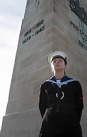 Pictured: A young cadet stands in front of the cenotaph during the service Friday 11 November 2016<br /> Re: Remembrance Day service at the Cenotaph in Swansea, south Wales, UK.