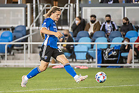 SAN JOSE, CA - MAY 01: Florian Jungwirth #23 of the San Jose Earthquakes passes the ball during a game between San Jose Earthquakes and D.C. United at PayPal Park on May 01, 2021 in San Jose, California.