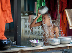 18 JUNE 2015, Mandalay, Myanmar:  Young monks wash themselves in Masoeyein Monastery, the home of 969 activist Monk Wirathu, in Mandalay, Myanmar. Picture Graham Crouch/The Australian Magazine