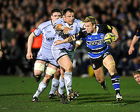 Michael Claassens of Bath Rugby (right) looks to go round Julian White of Leicester Tigers during the LV= Cup semi final match between Bath Rugby and Leicester Tigers at The Recreation Ground, Bath (Photo by Rob Munro, Fotosports International)
