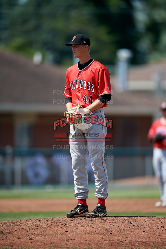 Batavia Muckdogs starting pitcher Dakota Bennett (44) looks in for the sign during a game against the Auburn Doubledays on June 17, 2018 at Falcon Park in Auburn, New York.  Auburn defeated Batavia 10-6.  (Mike Janes/Four Seam Images)
