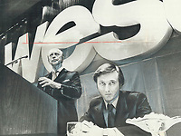 1977 FILE PHOTO - ARCHIVES -<br /> <br /> 1977 FILE - <br /> <br /> Garfield Weston, founder of the George Weston Ltd. world-wide food empire, vigorously defended the company's peformance and dividend payment record at the annual meeting yesterday in Toronto. Son W. Galen Weston, chairman, seated, told shareholders dividends on common shares will not be increased until the company has several consecutive profitable quarters.<br /> <br /> PHOTO : Bull, Ron<br /> <br /> PHOTO : Ron BULL - Toronto Star Archives - AQP