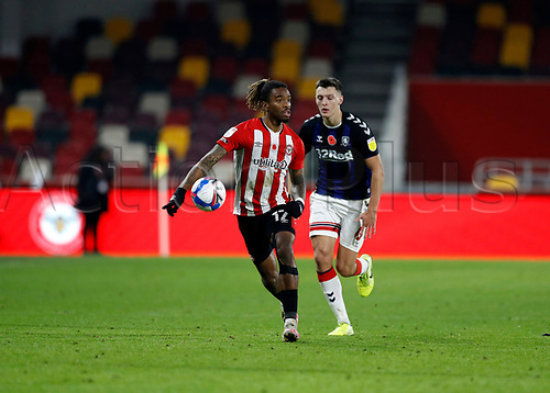 7th November 2020; Brentford Community Stadium, London, England; English Football League Championship Football, Brentford FC versus Middlesbrough; Ivan Toney of Brentford being marked by Dael Fry of Middlesbrough