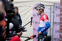 Mathieu Van der Poel (NED/Alpecin-Fenix) interviewed at the race start in Siena<br /> <br /> 15th Strade Bianche 2021<br /> ME (1.UWT)<br /> 1 day race from Siena to Siena (ITA/184km)<br /> <br /> ©kramon