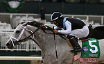 """Octover 04, 2020 : #5 Valiance and jockey Luis Saez win the 65th running of The Huddmonte Spinster (Grade 1) """"Win and You're In Breeders' Cup Distaff Division"""" $400,000 for owner Eclipse Thoroughbred Partners and trainer Todd Pletcher at Keeneland Racecourse in Lexington, KY on October 04, 2020.  Candice Chavez/ESW/CSM"""