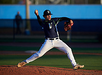 Victory Charter School Knights pitcher Carlos Mavare (39) during a game against the IMG Academy Ascenders on February 28, 2020 at IMG Academy in Bradenton, Florida.  (Mike Janes/Four Seam Images)