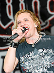 LC Rocks band lead singer Matt Bray in action before the Nascar Sprint Cup Series AAA Texas 500 race at Texas Motor Speedway in Fort Worth,Texas. Sprint Cup Series driver Tony Stewart (14) wins the AAA Texas 500 race