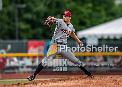 21 July 2019: Tri-City ValleyCat pitcher Juan Pablo Lopez on the mound against the Vermont Lake Monsters at Centennial Field in Burlington, Vermont. The Lake Monsters rallied to defeat the ValleyCats 6-3 in NY Penn League play. Mandatory Credit: Ed Wolfstein Photo *** RAW (NEF) Image File Available ***