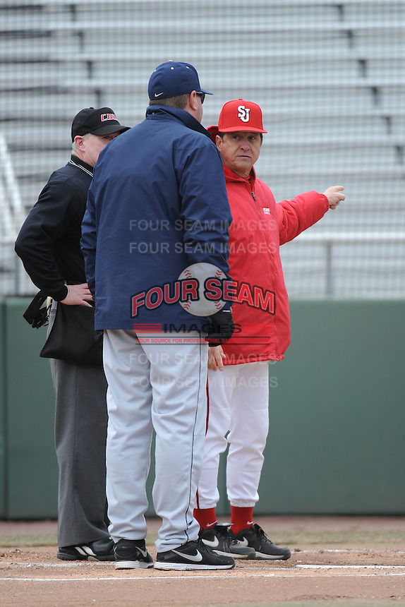 St. John's Redstorm Head Coach Ed Blankmeyer  with University of Pittsburgh Panthers Head coach Joe Jordano before game  played at Jack Kaiser Stadium on March 22, 2013 in Queens, New York.  Pittsburgh defeated St. John's 12-9.  (Tomasso DeRosa/Four Seam Images)