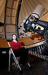NEW MILFORD, CT - 31 March 2004 - 033104TH11 - Lisa Glukhovsky poses inside the John J. McCarthy Observatory on the grounds of New Milford High School.  The New Milford senior has devised a method to calculate the actual distance of near-earth asteroids to our planet.  TODD HOUGAS PHOTO