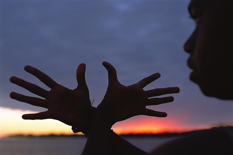 Hands silhouette, Aurukun, Cape York Peninsula.