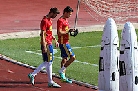 Spanish Marc Bartra and Gerard Pique  during the second training of the concentration of Spanish football team at Ciudad del Futbol de Las Rozas before the qualifying for the Russia world cup in 2017 August 30, 2016. (ALTERPHOTOS/Rodrigo Jimenez) /NORTEPHOTO