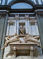 Italy, Florence San Lorenzo, Medici Chapel, Lorenzo and Giovanni Medici tomb, Michelangelo statue