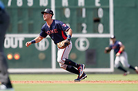 Third baseman Beau Philip (5) of the Rome Braves in a game against the Greenville Drive on Sunday, August 8, 2021, at Fluor Field at the West End in Greenville, South Carolina. (Tom Priddy/Four Seam Images)