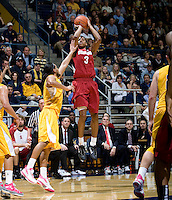 STANFORD, CA - January 29th, 2012: Anthony Brown of Stanford shoots the ball during a basketball game against California at Haas Pavilion in Berkeley, California.   California won 69-59 against Stanford.