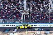 #19: Brandon Jones, Joe Gibbs Racing, Toyota Supra Menards/Turtle Wax takes the checkered flag
