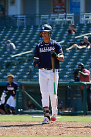 Daylen Lile (7) bats during the Baseball Factory All-Star Classic at Dr. Pepper Ballpark on October 4, 2020 in Frisco, Texas.  Daylen Lile (7), a resident of Louisville, Kentucky, attends Trinity High School.  (Mike Augustin/Four Seam Images)