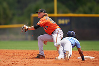 Baltimore Orioles shortstop Gunnar Henderson (93) waits for a throw as Michael Berglund (19) slides in safely during a Minor League Spring Training game against the Tampa Bay Rays on April 23, 2021 at Charlotte Sports Park in Port Charlotte, Florida.  (Mike Janes/Four Seam Images)