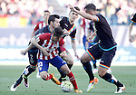 Atletico de Madrid's LucianoVietto (c) and Rayo Vallecano's Tito Roman (l), Diego LLorente (b) and Antonio Amaya during La Liga match. April 30,2016. (ALTERPHOTOS/Acero)