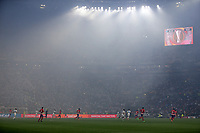 16th May 2018, Stade de Lyon, Lyon, France; Europa League football final, Marseille versus Atletico Madrid; Smoke from the flares fills Groupama Stadium as the match kicks off