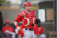 Los Angeles Angels catcher Wade Wass (22) during an instructional league game against the Texas Rangers on October 5, 2015 at the Surprise Stadium Training Complex in Surprise, Arizona.  (Mike Janes/Four Seam Images)