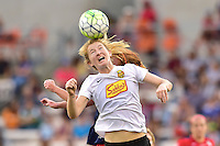 Houston, TX - Sunday Oct. 09, 2016: Victoria Huster, Samantha Mewis during the National Women's Soccer League (NWSL) Championship match between the Washington Spirit and the Western New York Flash at BBVA Compass Stadium.