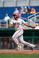 Auburn Doubledays first baseman Jamori Blash (26) grounds out during a game against the Batavia Muckdogs on September 1, 2018 at Dwyer Stadium in Batavia, New York.  Auburn defeated Batavia 10-5.  (Mike Janes/Four Seam Images)