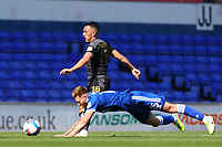 13th September 2020; Portman Road, Ipswich, Suffolk, England, English League One Footballl, Ipswich Town versus Wigan Athletic; Teddy Bishop of Ipswich Town is brought down by Gary Roberts of Wigan Athletic