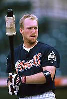 Darin Erstad of the Anaheim Angels during a 2000 season MLB game at Angel Stadium in Anaheim, California. (Larry Goren/Four Seam Images)