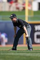 Umpire Austin Jones during a game between the South Bend Cubs and Lake County Captains on July 27, 2016 at Classic Park in Eastlake, Ohio.  Lake County defeated South Bend 5-4.  (Mike Janes/Four Seam Images)