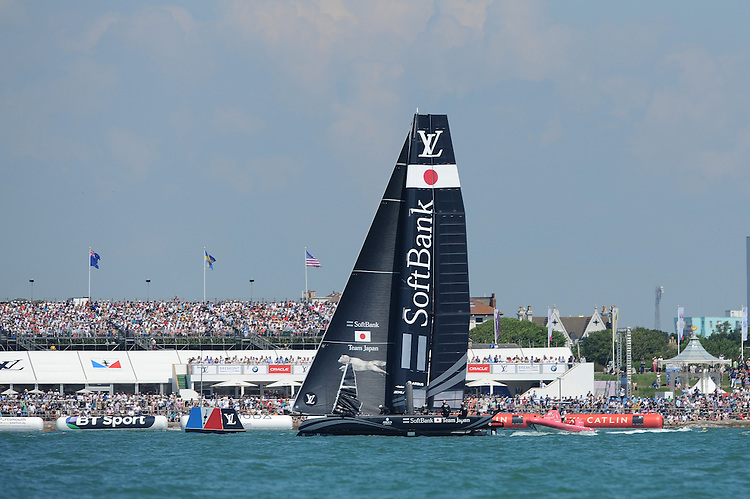 SoftBank Team Japan, JULY 23, 2016 - Sailing: SoftBank Team Japan in front of the crowds watching the racing during day one of the Louis Vuitton America's Cup World Series racing, Portsmouth, United Kingdom. (Photo by Rob Munro/Stewart Communications)
