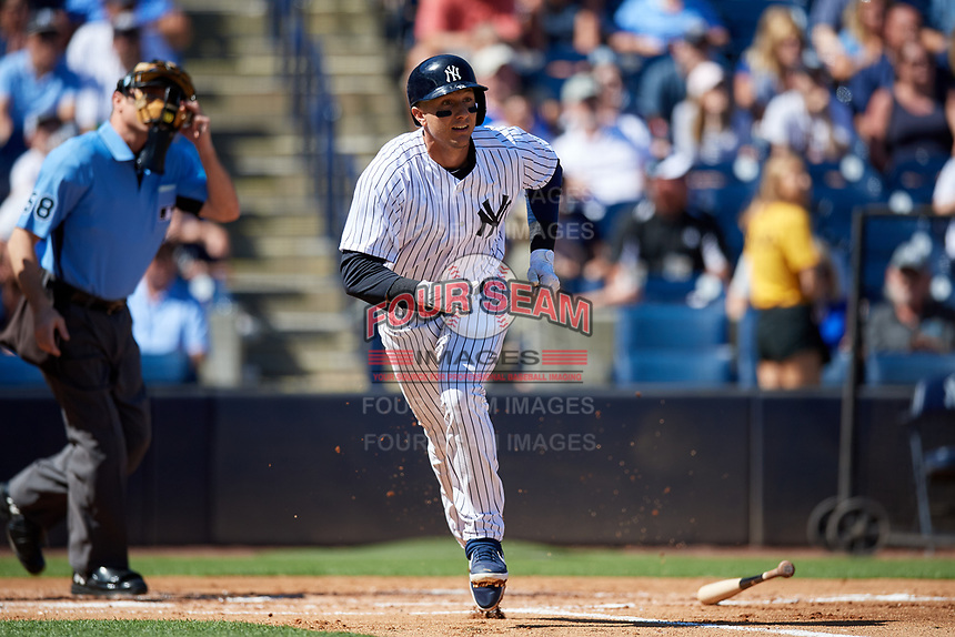 New York Yankees shortstop Troy Tulowitzki (12) runs to first base after hitting a home run during a Grapefruit League Spring Training game against the Toronto Blue Jays on February 25, 2019 at George M. Steinbrenner Field in Tampa, Florida.  Yankees defeated the Blue Jays 3-0.  (Mike Janes/Four Seam Images)