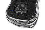 Car Stock 2014 Mercedes Benz S-Class S63 AMG 4 Door Sedan Engine high angle detail view