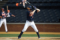 Brendan Rivoli (8) of the Virginia Cavaliers at bat against the Wake Forest Demon Deacons at David F. Couch Ballpark on May 19, 2018 in  Winston-Salem, North Carolina. The Demon Deacons defeated the Cavaliers 18-12. (Brian Westerholt/Four Seam Images)