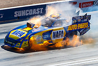 Oct 29, 2017; Las Vegas, NV, USA; NHRA funny car driver Ron Capps explodes his engine on fire during the Toyota National at The Strip at Las Vegas Motor Speedway. Capps was uninjured in the incident. Mandatory Credit: Mark J. Rebilas-USA TODAY Sports