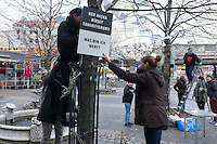 Gedenken an Hatun Sueruecue (U-Umlaut!)<br />Am Freitag den 7. Februar 2014 brachten Mitglieder und Freunde der Frauenfussball-Abteilung des Berliner Fussballverein Tuerkiemspor im Stadtteil Kreuzberg 50 Plakate zur Erinnerung an die am 7. Februar 2005 ermordete Hatun Sueruecue an. Die Kurdin Hatun Sueruecue wurde damals von ihren Geschwistern ermordet, da sie sich nicht der traditionellen Lebensart ihrer Familie anschliessen und ein selbstbestimmtes Leben fuehren wollte.<br />7.2.2014, Berlin<br />Copyright: Christian-Ditsch.de<br />[Inhaltsveraendernde Manipulation des Fotos nur nach ausdruecklicher Genehmigung des Fotografen. Vereinbarungen ueber Abtretung von Persoenlichkeitsrechten/Model Release der abgebildeten Person/Personen liegen nicht vor. NO MODEL RELEASE! Don't publish without copyright Christian-Ditsch.de, Veroeffentlichung nur mit Fotografennennung, sowie gegen Honorar, MwSt. und Beleg. Konto:, I N G - D i B a, IBAN DE58500105175400192269, BIC INGDDEFFXXX, Kontakt: post@christian-ditsch.de<br />Urhebervermerk wird gemaess Paragraph 13 UHG verlangt.]