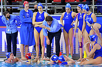 Theodoros Lorantos Head coach of Greece and players during a timeout <br /> Netherlands NED Vs Greece GRE <br /> Semifinal 1st-4th place  <br /> Trieste (Italy) 23/01/2021 Bruno Bianchi Aquatic Center <br /> Fina Women's Water Polo Olympic Games Qualification Tournament 2021 <br /> Photo Andrea Staccioli / Deepbluemedia / Insidefoto