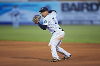 Pulaski Yankees second baseman Luis Santos (13) on defense against the Burlington Royals at Calfee Park on September 1, 2019 in Pulaski, Virginia. The Royals defeated the Yankees 5-4 in 17 innings. (Brian Westerholt/Four Seam Images)