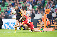 130712 Copyright onEdition 2012 ©.Free for editorial use image, please credit: onEdition..Chris Mayor of London Wasps is tackled by James Short of Saracens at The Stoop, Twickenham in the first round of The J.P. Morgan Asset Management Premiership Rugby 7s Series...The J.P. Morgan Asset Management Premiership Rugby 7s Series kicked off again for the third season on Friday 13th July at The Stoop, Twickenham with Pool B being played at Edgeley Park, Stockport on Friday, 20th July, Pool C at Kingsholm Gloucester on Thursday, 26th July and the Final being played at The Recreation Ground, Bath on Friday 3rd August. The innovative tournament, which involves all 12 Premiership Rugby clubs, offers a fantastic platform for some of the country's finest young athletes to be exposed to the excitement, pressures and skills required to compete at an elite level...The 12 Premiership Rugby clubs are divided into three groups for the tournament, with the winner and runner up of each regional event going through to the Final. There are six games each evening, with each match consisting of two 7 minute halves with a 2 minute break at half time...For additional images please go to: http://www.w-w-i.com/jp_morgan_premiership_sevens/..For press contacts contact: Beth Begg at brandRapport on D: +44 (0)20 7932 5813 M: +44 (0)7900 88231 E: BBegg@brand-rapport.com..If you require a higher resolution image or you have any other onEdition photographic enquiries, please contact onEdition on 0845 900 2 900 or email info@onEdition.com.This image is copyright the onEdition 2012©..This image has been supplied by onEdition and must be credited onEdition. The author is asserting his full Moral rights in relation to the publication of this image. Rights for onward transmission of any image or file is not granted or implied. Changing or deleting Copyright information is illegal as specified in the Copyright, Design and Patents Act 1988. If you are in any way unsure of your right to publish this image p