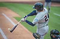 John Baker (24) of the Tacoma Rainiers at bat against the Salt Lake Bees in Pacific Coast League action at Smith's Ballpark on May 7, 2015 in Salt Lake City, Utah.  (Stephen Smith/Four Seam Images)
