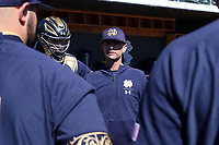CHAPEL HILL, NC - MARCH 08: Head coach Link Jarrett #5 of the University of Notre Dame talks to his team during a game between Notre Dame and North Carolina at Boshamer Stadium on March 08, 2020 in Chapel Hill, North Carolina.