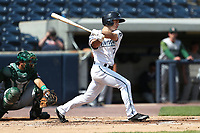 West Michigan Michigan Whitecaps outfielder Jacob Robson (7) follows through on his swing against the Fort Wayne TinCaps during the Midwest League baseball game on April 26, 2017 at Fifth Third Ballpark in Comstock Park, Michigan. West Michigan defeated Fort Wayne 8-2. (Andrew Woolley/Four Seam Images)