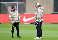 14th September 2021: The  AXA Training Centre, Kirkby, Knowsley, Merseyside, England: Liverpool FC training ahead of Champions League game versus AC Milan on 15th September: Liverpool manager Jurgen Klopp with his assistants Vitor Matos and Pepijn Lijnders