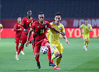 Killian Sardella (18) of Belgium and Arman Kenessov (14) of Kazakhstan battle for the ball during a soccer game between the national teams Under21 Youth teams of Belgium and Kazakhstan on the third matday in group I for the qualification for the Under 21 EURO 2023 , on friday 8 th of october 2021  in Leuven , Belgium . PHOTO SPORTPIX | SEVIL OKTEM
