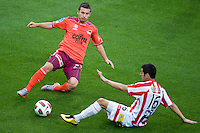 MELBOURNE, AUSTRALIA - NOVEMBER 14: Massimo Murdocca of the Roar and Aziz Behich of the Heart compete for the ball during the round 14 A-League match between the Melbourne Heart and Brisbane Roar at AAMI Park on November 14, 2010 in Melbourne, Australia (Photo by Sydney Low / Asterisk Images)
