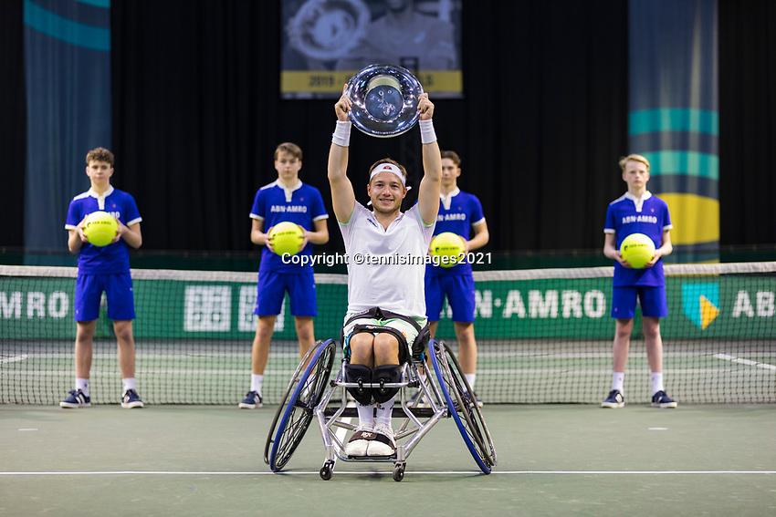 Rotterdam, The Netherlands,7 march  2021, ABNAMRO World Tennis Tournament, Ahoy,  <br /> Wheelchair final: Alfie Hewett (GBR) wins the final.<br /> Photo: www.tennisimages.com/